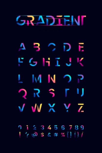 Colorful gradient alphabet set Free Vector