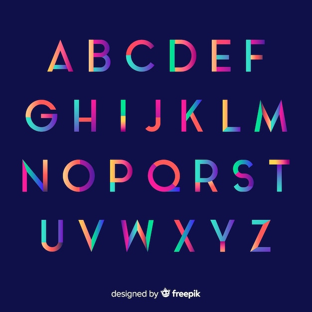 Colorful gradient alphabet template Free Vector