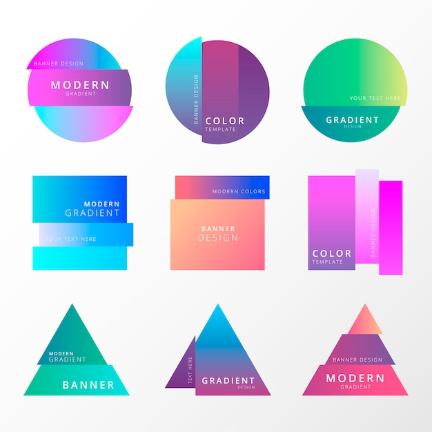 Colorful gradient banner collection Free Vector
