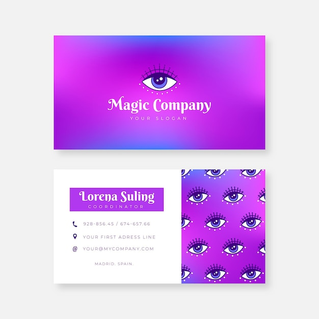 Colorful gradient business card template Free Vector