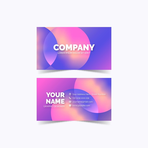 Modello di biglietto da visita gradiente colorato Vettore gratuito