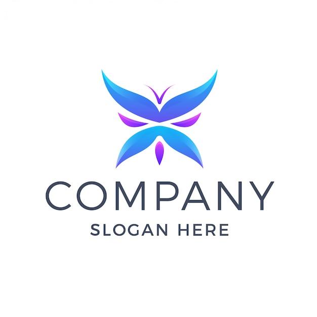Красочный логотип градиент бабочки Premium векторы