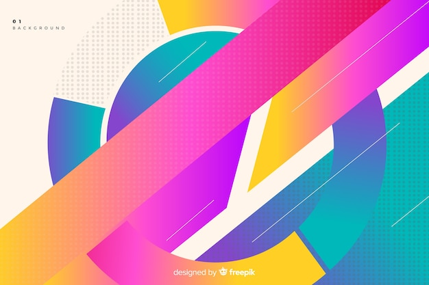 Colorful gradient circular shapes background Free Vector