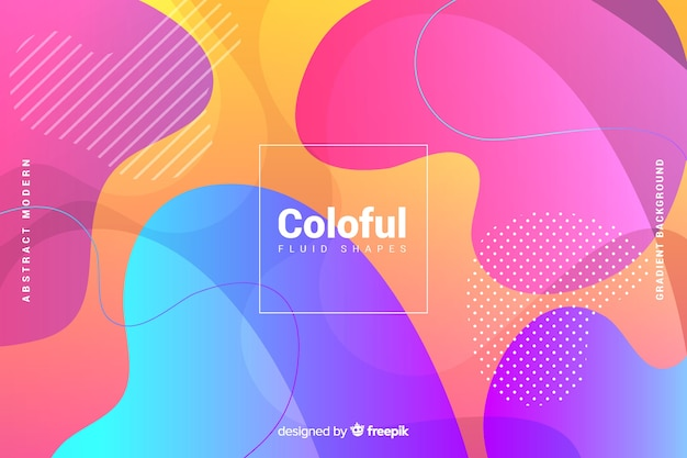 Colorful gradient fluid shapes background Free Vector