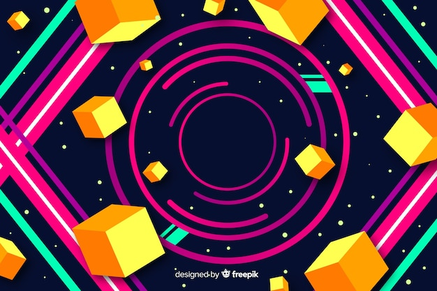 Colorful gradient geometric circular shapes background Free Vector