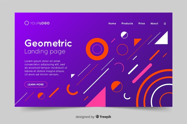 Colorful gradient geometric shapes landing page Free Vector