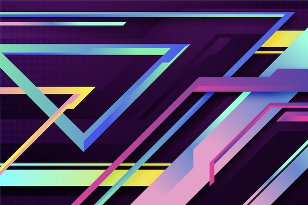 カラフルなグラデーションの幾何学的形状の壁紙 無料ベクター