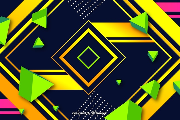 Colorful gradient geometric square shapes background Free Vector