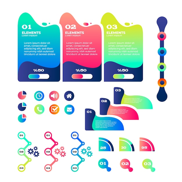 Colorful gradient infographic element collection Free Vector