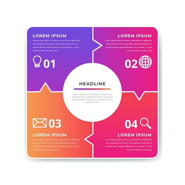Colorful gradient infographic elements template Free Vector