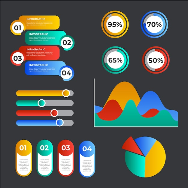 Colorful gradient infographic elements Free Vector
