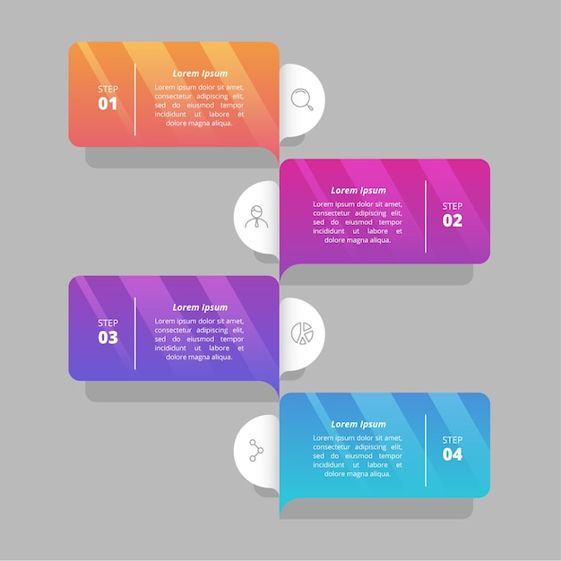 Colorful gradient infographic steps Free Vector