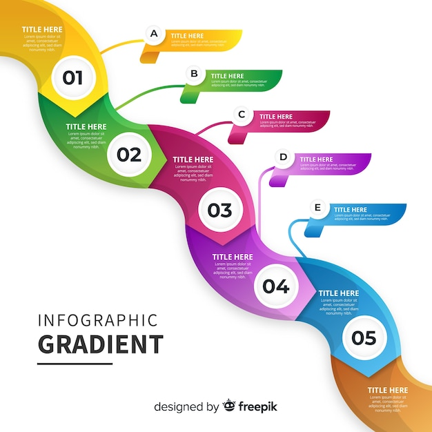 Colorful gradient infographic template Free Vector