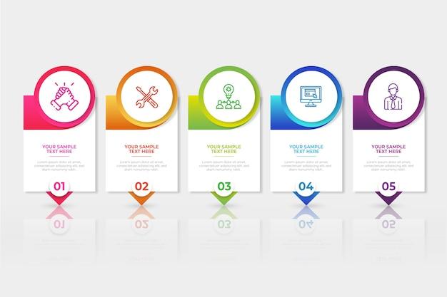 カラフルなグラデーションインフォグラフィック Premiumベクター
