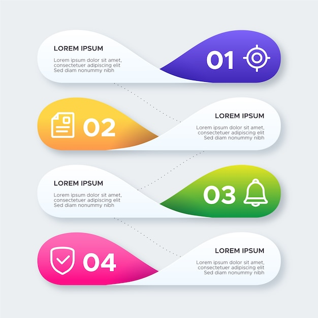 Colorful gradient infographic Free Vector