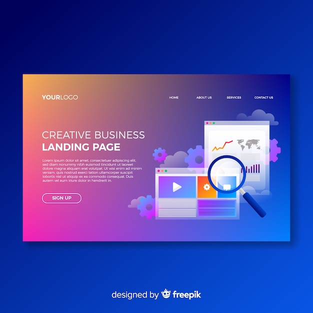 Colorful gradient landing page template Free Vector