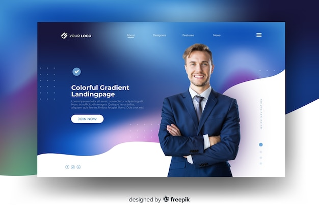 Colorful gradient landing page with businessman Free Vector | ux courses onlinea