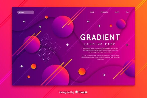 Colorful gradient landing page with geometric models Free Vector