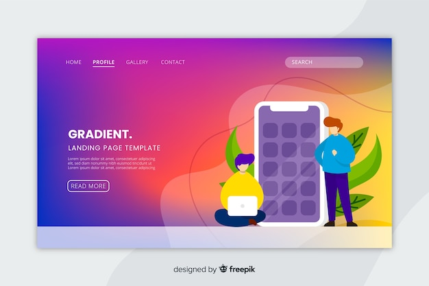 Colorful gradient landing page with illustrations template Free Vector