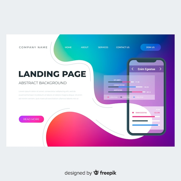 Colorful gradient landing page with phone Free Vector