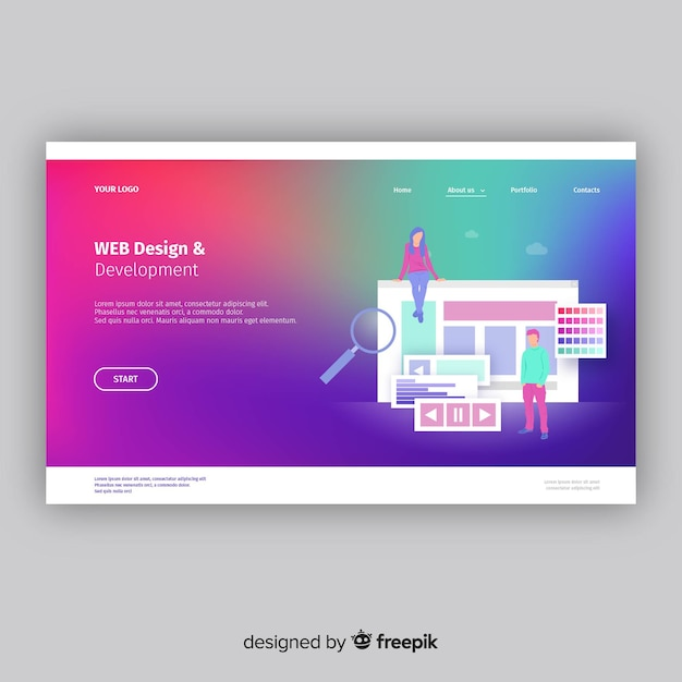 Colorful gradient landing page Free Vector