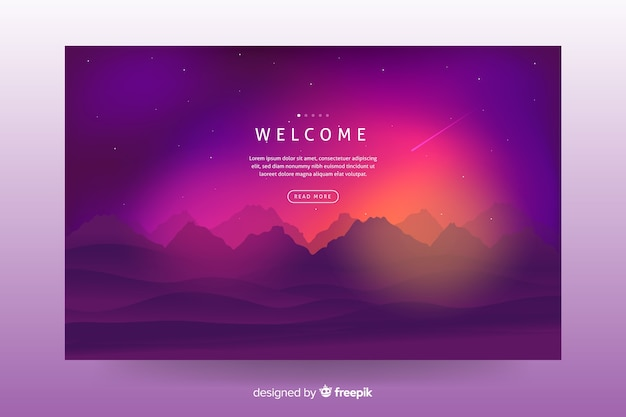 Colorful gradient landscape background for landing page Free Vector