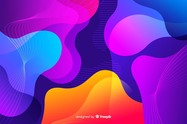 Colorful gradient liquid shapes background Free Vector