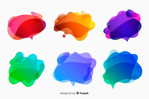 Colorful gradient liquid speech bubbles Free Vector