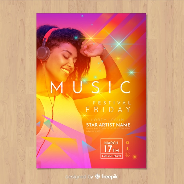 Colorful gradient music festival poster with image Free Vector
