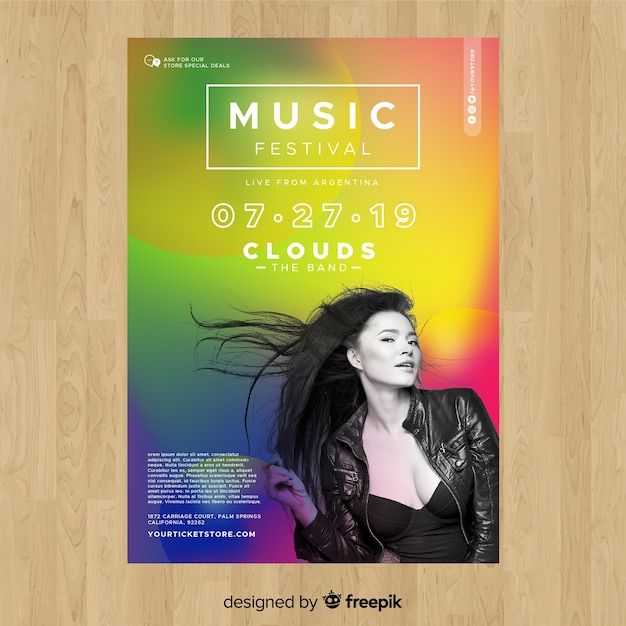 Colorful gradient music festival poster with photo Free Vector