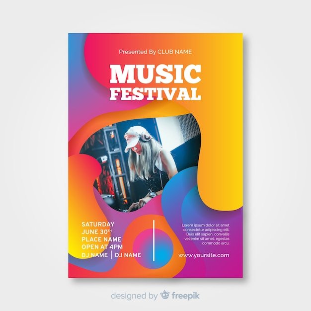 Colorful gradient music festival poster Free Vector