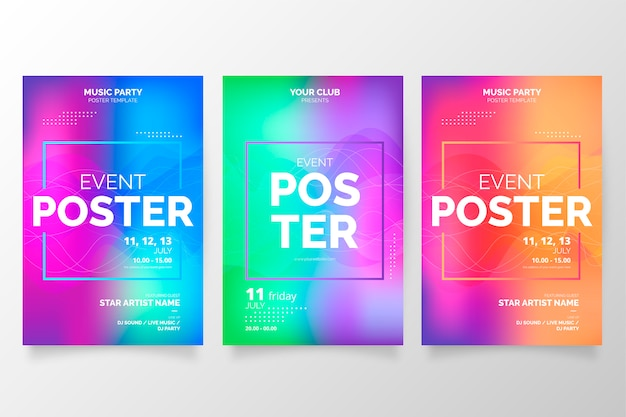 Colorful gradient poster collection for events Free Vector