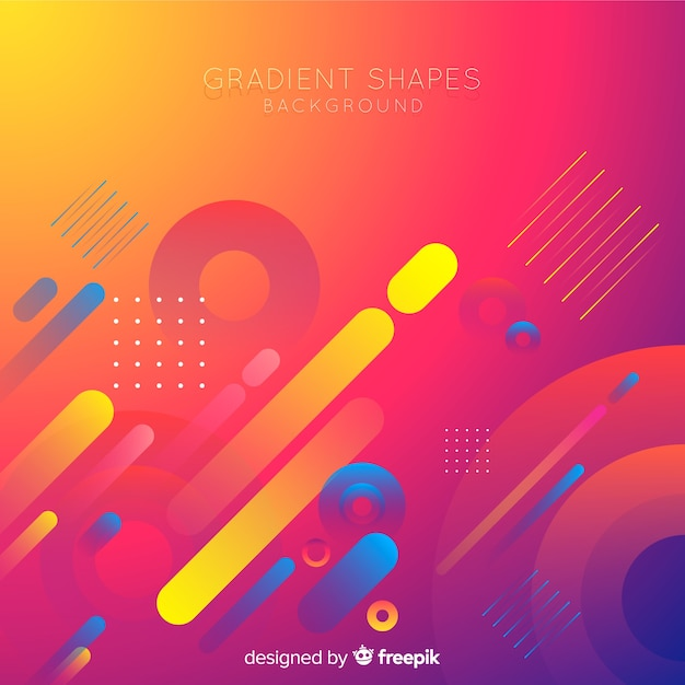 Colorful gradient shapes background Free Vector