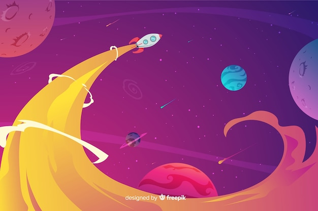 Colorful gradient space with a rocket background Free Vector