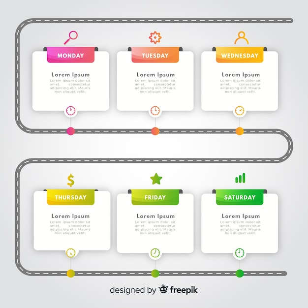 Colorful gradient timeline infographic template Free Vector