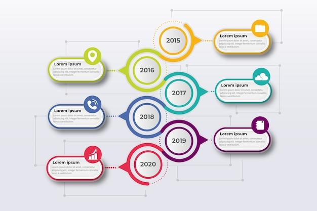 カラフルなグラデーションタイムラインインフォグラフィック 無料ベクター