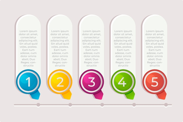 Colorful gradient timeline infographic Free Vector