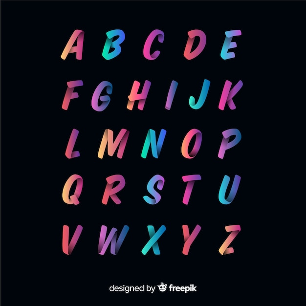 Colorful gradient typography template Free Vector