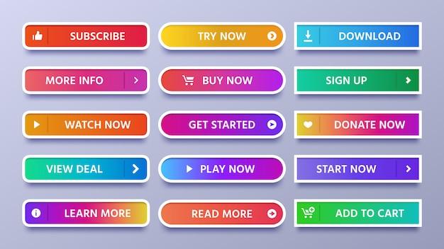 カラフルなグラデーションボタン。アイコンまたは矢印の付いた鮮やかなwebボタンにサインインし、分離されたアイコンセットを購読 Premiumベクター