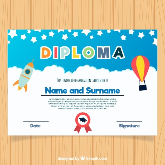 Colorful Graduation Certificate For Kids In Flat Design Vector