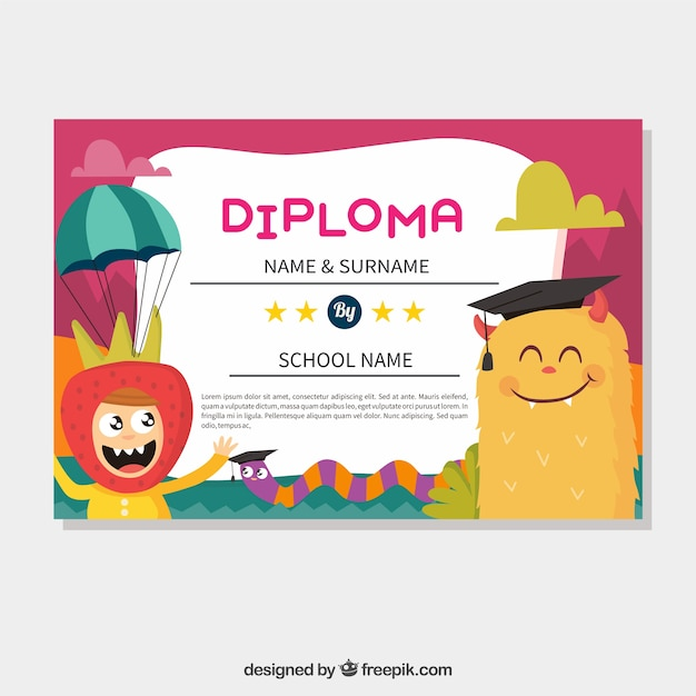 Colorful Graduation Certificate With Smiling Monster And Funny Boy