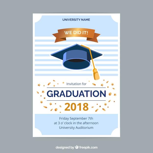 colorful graduation invitation template with flat design vector