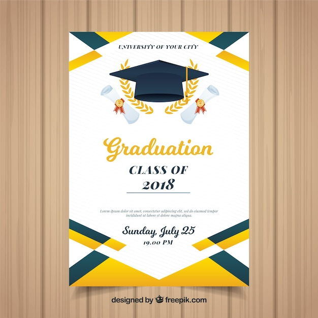 Colorful Graduation Invitation Template With Flat Design Vector