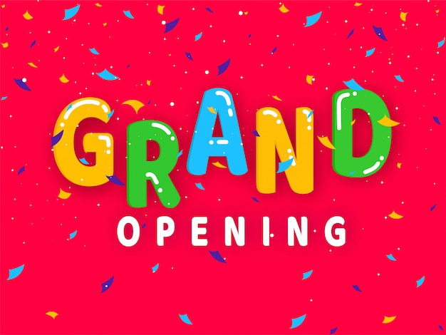 Colorful grand opening text with confetti decorated red background. Premium Vector