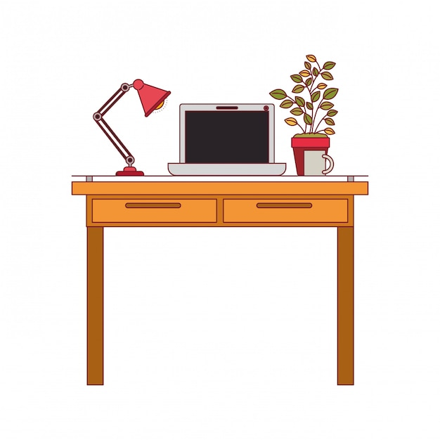 Colorful graphic of work place office interior with laptop computer and lamp and plantpot with dark red line contour Premium Vector
