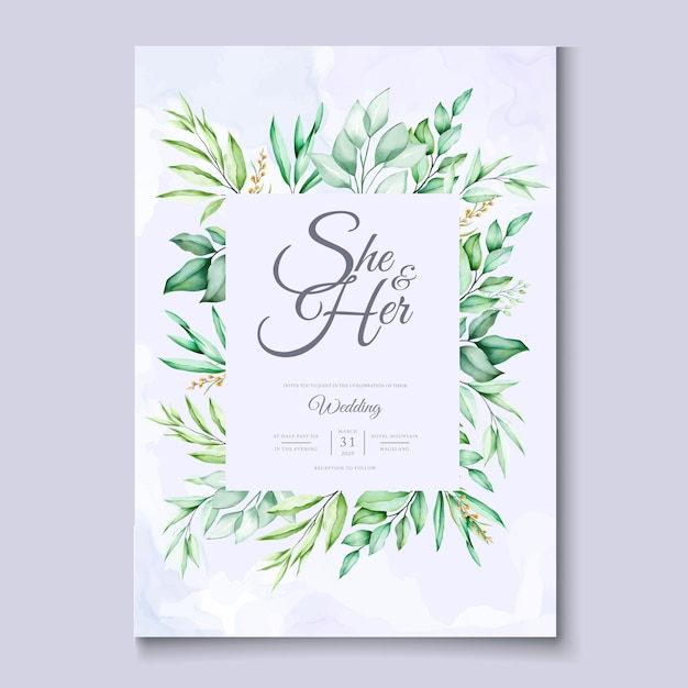 colorful green floral wedding invitation card template
