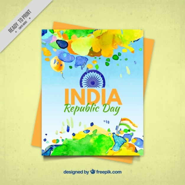 Colorful greeting card for indian republic day in watercolor style