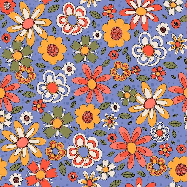 Motivo floreale groovy colorato disegnato a mano Vettore gratuito