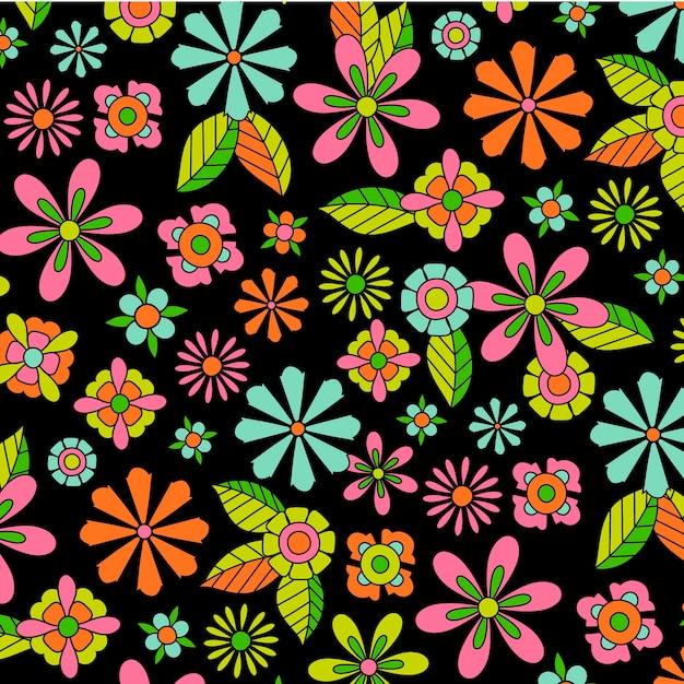 Красочный заводной цветочный узор Бесплатные векторы