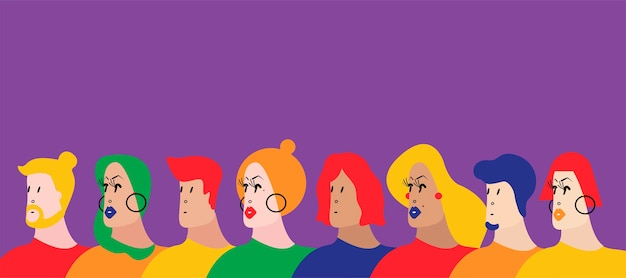Colorful group of people vector illustration Free Vector